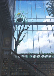 1girl absurdres birdcage book brown_hair cage cloud commentary_request from_side highres indoors jacket library long_hair mitsuki_(yu_hsiang_yi) original painting_(object) railing red_skirt skirt solo stairs standing topknot tree window