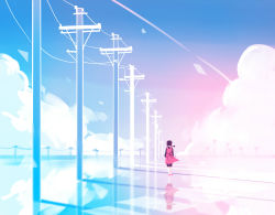 1girl asahina_hiyori black_hair cable cloud highres kagerou_project lilya long_hair low_twintails power_lines reflection road_sign sign sky solo telephone_pole twintails