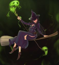 1girl alba arm_support bangs belt belt_pouch berserk black_hair breasts broom broom_riding brown_shoes capelet cleavage dark_background dress full_body hat holding holding_staff legs_crossed long_hair long_sleeves looking_away looking_to_the_side morda no_socks open_mouth pink_eyes pointy_shoes pouch purple_dress purple_hat riding shoes side_slit sidesaddle sitting small_breasts smile solo spirit staff witch witch_hat