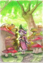 1girl barefoot commentary forest frog full_body highres isaki_tanaka japanese_clothes kimono landscape leaf leaf_on_head minigirl mushroom nature needle obi open_mouth outdoors purple_hair ribbon sash scenery short_hair short_sleeves signature solo sukuna_shinmyoumaru tiptoes touhou traditional_media tree tree_shade yellow_eyes