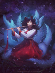 1girl ahri animal_ears artist_name black_hair downscaled facial_mark flute fox_ears fox_tail full_body grass hanbok highres instrument korean_clothes league_of_legends long_hair long_sleeves looking_at_viewer md5_mismatch multiple_tails music outdoors petals playing_instrument poenatsha_yuen resized revision signature solo tail watermark whisker_markings wind yellow_eyes