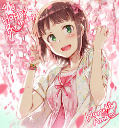 1girl :d amami_haruka blush bow bracelet brown_hair character_name dated flower green_eyes hair_bow happy_birthday heart idolmaster jewelry open_mouth redrop short_hair smile solo