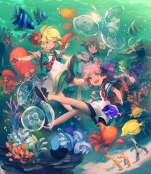 3girls :3 :d angelfish backpack bag bare_legs blonde_hair bow coral coral_reef dress eel fang fish flower freediving green_hair hair_flower hair_ornament highres jellyfish lee_hyeseung multiple_girls no_socks ocean ocean_bottom octopus open_mouth original outstretched_arms parted_lips pink_hair purple_hair ribbon ribbon-trimmed_clothes ribbon-trimmed_dress ribbon_trim sailor_dress shoe_bow shoes short_dress short_hair short_sleeves shorts shoulder_bag smile spread_arms surgeonfish underwater