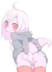 :3 anthro anus flat_chest loli monster_girl pink_eyes proofme pussy salamander shark_hoodie tail wa_moe white_hair