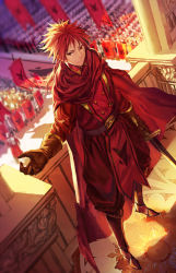 banner cape formal gloves infukun long_hair male_focus pixiv_fantasia pixiv_fantasia_t ponytail red_eyes red_hair soldiers solo_focus sword weapon