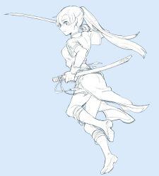 1girl aisutabetao breasts dress female fire_emblem fire_emblem:_rekka_no_ken full_body highres long_hair lyndis_(fire_emblem) monochrome ponytail simple_background solo sword weapon
