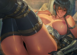 1girl armor ass belt black_hair breasts highres homare_(fool's_art) large_breasts nipples original scabbard sheath shiny shiny_skin short_hair solo thighhighs thighs