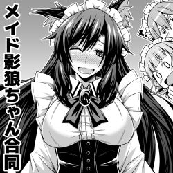 >:d 3girls :d ;d alternate_costume animal_ears blush breasts brooch circle_cut corset dress drill_hair fang frilles greyscale hair_between_eyes hair_over_shoulder imaizumi_kagerou jewelry jitome long_hair long_sleeves maid maid_headdress mamedenchi monochrome multiple_girls o_o one_eye_closed open_mouth peeking_out sekibanki slit_pupils smile sweat touhou underbust upper_body wakasagihime wavy_mouth wolf_ears