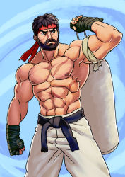 1boy abs alternate_costume beard biceps black_hair capcom headband josef_axner muscle ryuu_(street_fighter) scar shirtless solo street_fighter street_fighter_v toned wrist_wraps
