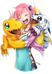 1girl 2boys agumon bandai blue_dress breast_grab breasts claws cleavage cross-laced_clothes digimon digimon_story:_cyber_sleuth dress fangs female gabumon happy horns hug monster multiple_boys open_mouth red_hair shiramine_nokia simple_background smile solo twintails v