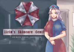 1girl blue_eyes braid breasts character_name closed_mouth commentary cowboy_shot derivative_work dress english fingernails frilled_sleeves frills hat indoors large_breasts long_hair looking_at_viewer medcare_skin_centre nurse_cap puffy_short_sleeves puffy_sleeves red_cross red_lips reference_photo resident_evil short_sleeves single_braid smile solo standing touhou umbrella_corporation_(logo) uniform very_long_hair yagokoro_eirin yoruny