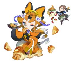 1boy 1girl animal_ears bell bravely_default:_flying_fairy bravely_default_(series) bravely_second:_end_layer brown_eyes character_request chibi comb eyeshadow flower fox_ears full_body hair_flower hair_ornament japanese_clothes jingle_bell kimono makeup official_art one_eye_closed orange_hair short_hair simple_background socks tabi take_(illustrator) white_background yew_geneolgia youko_(bravely_default)