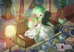 artist_request couch cup drink eyes_closed gardevoir green_hair kirlia lamp nintendo no_humans pokemon red_eyes short_hair sitting tagme