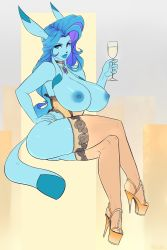 1girl alcohol animal_ears blue_eyes blue_hair blue_lipstick blue_skin breasts champagne champagne_glass choker corset dark_nipples full_body furry glaceon hand_on_hip high_heels highres huge_breasts invisible_chair jewelry lace lace-trimmed_thighhighs lips lipstick live_for_the_funk long_hair makeup multicolored_hair nail_polish necklace nipples pendant pokemon pokemon_(game) pompadour purple_hair sitting solo stiletto_heels thighhighs thighs toes topless two-tone_hair yellow_legwear yellow_nails