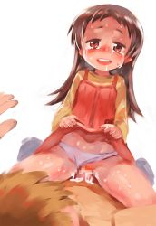 1boy 1girl age_difference artist_request blush brown_hair censored cum cum_in_pussy dress_lift drooling flat_chest girl_on_top grinding loli panties_aside penis saliva sweat tears