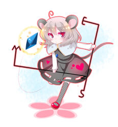 1girl ahoge animal_ears black_legwear blush chibi dowsing_rod female frown glyph grey_hair highres jewelry mary_janes mouse_ears mouse_tail nazrin necklace polka_dot polka_dot_legwear pout red_eyes shino_(mijinko) shoes short_hair socks solo tail touhou weather_vane