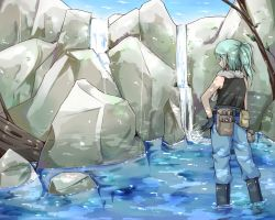 1girl ahoge alternate_costume alternate_hairstyle aqua_hair black_gloves boots denim from_behind gloves hand_on_hip hiyashi_mikan jeans kawashiro_nitori pants partially_submerged pointy_ears rock scarf side_ponytail sleeveless sleeveless_shirt solo tool_belt touhou water waterfall