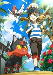1boy animal animal_on_head backpack bag bangs baseball_cap black_hair black_hat blue_eyes blue_sky capri_pants flower grubbin hat hibiscus litten lowres male_focus male_protagonist_(pokemon_sm) natsuno_hamuto on_head palm_tree pants pikipek pokemon pokemon_(creature) pokemon_(game) pokemon_sm shirt shoes signature sky sleeping sleeping_on_person smile sneakers striped striped_shirt t-shirt tree walking yungoos