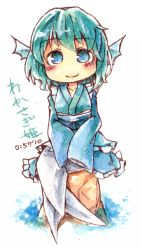 1girl blue_eyes blue_hair blush character_name green_kimono head_fins japanese_clothes kibayashi_kimori kimono mermaid monster_girl obi sash sitting sleeves_past_wrists smile solo touhou wakasagihime