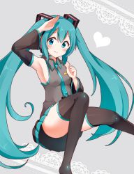 1girl aqua_eyes aqua_hair arm_up blush detached_sleeves hatsune_miku headset long_hair looking_at_viewer necktie salute skirt smile snowmi solo thighhighs twintails very_long_hair vocaloid