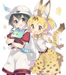 2girls animal_ears artist_request backpack bag blonde_hair blush ears eyebrows eyebrows_visible_through_hair feathers gloves hat hug kaban kemono_friends lucky_beast_(kemono_friends) multiple_girls open_mouth pantyhose purple_eyes ribbon sandstar serval_(kemono_friends) shirt short_hair shorts simple_background skirt socks standing tail yellow_eyes