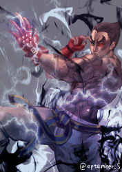 1boy abs black_hair electricity eyebrows fighting_stance fingerless_gloves gloves glowing glowing_eye heterochromia highres m_september mishima_kazuya muscle red_eyes scar shirtless short_hair solo tekken thick_eyebrows