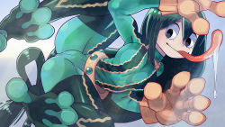 1girl 27_degrees against_glass all_fours asui_tsuyu belt black_eyes black_hair bodysuit boku_no_hero_academia breast_press breasts_on_glass brown_gloves female glass gloves goggles goggles_on_head hair_rings long_hair long_tongue low-tied_long_hair monster_girl saliva smile solo tongue tongue_out