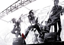 4boys boots concert drum drum_set drumming ebira final_fantasy final_fantasy_xv gladiolus_amicitia glasses gloves guitar ignis_scientia instrument jumping microphone microphone_stand monochrome multiple_boys music noctis_lucis_caelum open_mouth playing_instrument prompto_argentum singing sleeveless spiked_hair spot_color stage_lights tank_top tattoo