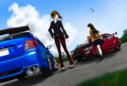 absurdres airplane akagi_(kantai_collection) artist_request bag car casual cloud handbag highres impreza_wrx_sti kaga_(kantai_collection) kantai_collection lancer_evolution long_hair mitsubishi motor_vehicle multiple_girls pants racecar short_hair skirt sky subaru vehicle