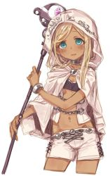 10s 1girl 7010 alternate_costume blonde_hair blush bracelet chains cloak commentary_request cowboy_shot cropped_jacket dark_skin green_eyes hood hooded_cloak idolmaster idolmaster_cinderella_girls jewelry layla_(idolmaster) long_hair looking_at_viewer navel parted_lips shorts simple_background smile solo staff white_background white_cloak white_shorts