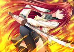 1girl creek_(moon-sky) fire long_hair red_eyes red_hair school_uniform serafuku shakugan_no_shana shana sword thighhighs weapon