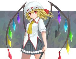 1girl alternate_costume ascot black_skirt blonde_hair cowboy_shot crystal flandre_scarlet grey_background hair_between_eyes hair_ribbon hat holding holding_weapon laevatein looking_at_viewer mob_cap pleated_skirt pointy_ears puffy_short_sleeves puffy_sleeves red_eyes red_ribbon ribbon shirt short_sleeves skirt sleeve_cuffs smile solo standing touhou uumaru1869 weapon white_hat white_shirt wings