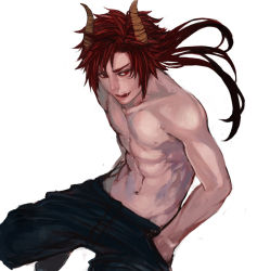 1boy abs collarbone hands_in_pockets horns licking_lips lips long_hair male_focus navel original pants red_eyes red_hair renos sharp_teeth shirtless simple_background solo spiked_hair teeth tongue white_background