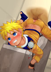 2boys anal bent_over blonde_hair blue_eyes blush bondage clenched_teeth fairwind forced jumpsuit multiple_boys naruto pain penetration penis rape restrained restroom rope sandals sex shota tears testicles toilet uzumaki_naruto whiskers yaoi