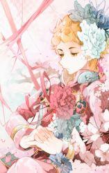 1boy ayatsuku blonde_hair braid flower giorno_giovanna hair_flower hair_ornament jojo_no_kimyou_na_bouken ladybug ribbon solo yellow_eyes