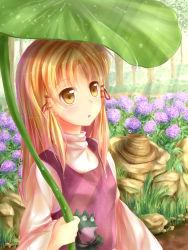 1girl blonde_hair brown_eyes chu_qing flower frog highres holding hydrangea long_hair moriya_suwako outdoors purple_flower solo touhou