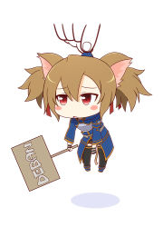 1girl animal_ears black_legwear blush blush_stickers brown_hair cat_ears cat_tail chibi full_body kaleido_yuki light_brown_hair red_eyes short_twintails sign silica simple_background size_difference sword_art_online tail thighhighs twintails white_background