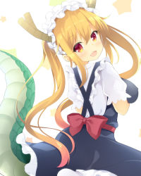 1girl :3 :d blonde_hair blush breasts dragon_girl dragon_horns dragon_tail eyebrows_visible_through_hair fangs from_behind hair_between_eyes head_tilt horns kobayashi-san_chi_no_maidragon large_breasts long_hair looking_back maccha maid maid_headdress open_mouth orange_eyes slit_pupils smile solo star starry_background tail tooru_(maidragon) twintails very_long_hair white_background white_legwear