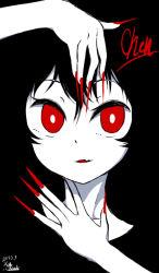 1girl character_name chen fang itsuki_(kisaragi) nail_polish red_eyes red_nails sharp_nails solo spot_color touhou