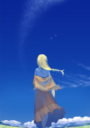 1girl blonde_hair blue_sky braid chrno_crusade field from_behind kondou_totetsu long_hair long_skirt older rosette_christopher shawl single_braid skirt sky solo
