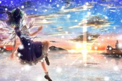 1girl aru0607 blue_bow blue_dress blue_hair bobby_socks bow brown_shoes cirno cloud cloudy_sky commentary_request dress fairy floating frilled_dress frills from_behind frozen_lake hair_bow ice ice_wings mary_janes misty_lake mountainous_horizon puffy_short_sleeves puffy_sleeves scarlet_devil_mansion scenery shoes short_hair short_sleeves sky snow snowing socks solo sunlight sunset touhou wings