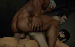 anal animated animated_gif ass bara crossover double_penetration erection large_penis male_focus muscle nude penetration penis resident_evil sex size_difference source_filmmaker street_fighter testicles thrusting yaoi