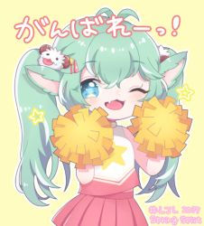 1girl animal_ears blue_hair cheerleader fang league_of_legends magical_girl pom_poms poppy skirt solo star_guardian_poppy twintails wink yordle