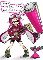 >;) 1girl ;) bike_shorts blue_eyes domino_mask full_body goggles goggles_on_head hoodie inkling long_hair long_sleeves mask nintendo nuana one_eye_closed paint paint_roller pink_hair pointy_ears shoes simple_background smile sneakers solo splatoon sprinkler standing tentacle_hair white_background
