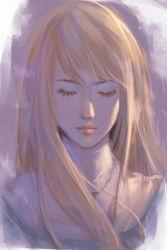 1girl blonde_hair claymore eyes_closed galatea long_hair nguyen_uy_vu nun sketch solo