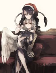 2girls bangs book couch doremy_sweet dress feathered_wings hat hisona_(suaritesumi) jacket kishin_sagume legs_crossed long_sleeves multiple_girls nightcap open_clothes open_jacket pillow pom_pom_(clothes) purple_eyes purple_hair red_eyes short_hair short_sleeves silver_hair single_wing sitting tail touhou white_wings wings yuri