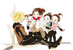 1boy 4girls ^_^ black_legwear blonde_hair blue_gloves brown_eyes brown_hair cellphone eyes_closed gloves hair_bun hair_ornament hair_scrunchie hood hoodie jacket legwear_under_shorts multiple_girls nishigoori_axel nishigoori_loop nishigoori_lutz nishigoori_yuuko nozimami open_mouth pantyhose phone pink_gloves ponytail purple_gloves scrunchie shorts sitting skirt sleeping smartphone smile squatting track_jacket yuri!!!_on_ice yuri_plisetsky