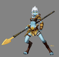 1girl absurdres armor artist_name black_sclera blue_skin boots bracer claws defense_of_the_ancients digitigrade dota_2 full_body grey_background highres lance leather leather_boots mcrc_science monster_girl phantom_lancer pointy_ears polearm shoulder_pads weapon white_hair yellow_eyes