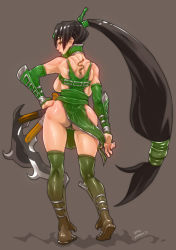 1girl akali ass backboob black_hair breasts detached_sleeves from_behind greaves green_legwear kama_(weapon) kneepits large_breasts league_of_legends long_hair low-tied_long_hair ponytail romehamu sandals sickle slender_waist solo tattoo thighhighs thong vambraces very_long_hair wide_hips