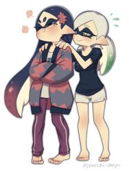 +_+ 2girls :> absurdres alternate_costume alternate_hairstyle annoyed aori_(splatoon) barefoot black_hair blush breasts breath closed_mouth domino_mask eyes_closed frown full_body gradient_hair green_hair hands_on_another's_shoulders highres hotaru_(splatoon) long_hair looking_at_another mask mole mole_under_eye multicolored_hair multiple_girls no_earrings pointy_ears pout puchiman purple_hair short_hair silver_hair simple_background smile splatoon standing sweatdrop symbol-shaped_pupils teardrop tearing_up tentacle tentacle_hair white_background